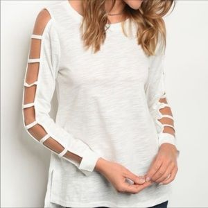Off White Ladder Sleeve Top